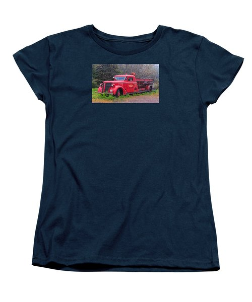 Women's T-Shirt (Standard Cut) featuring the photograph American Foamite Firetruck2 by Susan Crossman Buscho