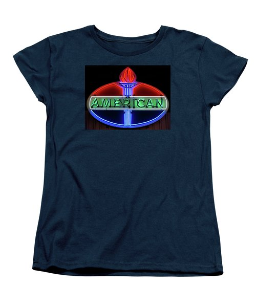 Women's T-Shirt (Standard Cut) featuring the photograph American Oil Sign by Sandy Keeton