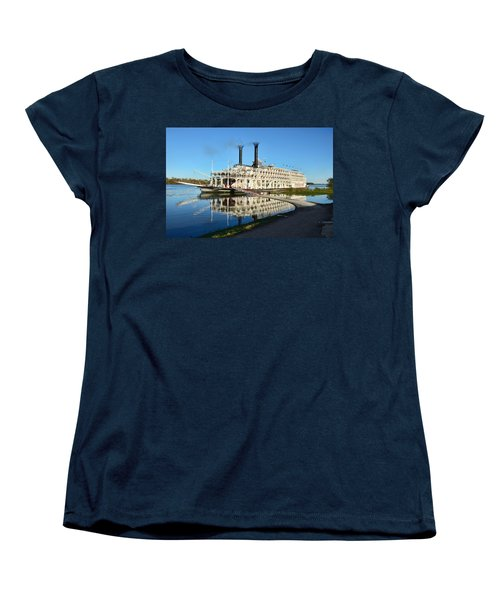 American Queen Steamboat Reflections On The Mississippi River Women's T-Shirt (Standard Cut) by David Lawson