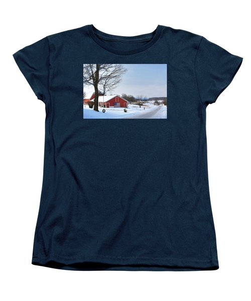 Women's T-Shirt (Standard Cut) featuring the digital art Americana Barn In Vermont by Sharon Batdorf