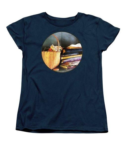 Americana - Books Basket And Quills Women's T-Shirt (Standard Cut) by Susan Savad