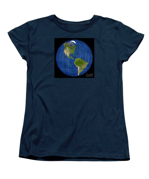 Americas On A Globe The Western Hemisphere Women's T-Shirt (Standard Cut) by Wernher Krutein