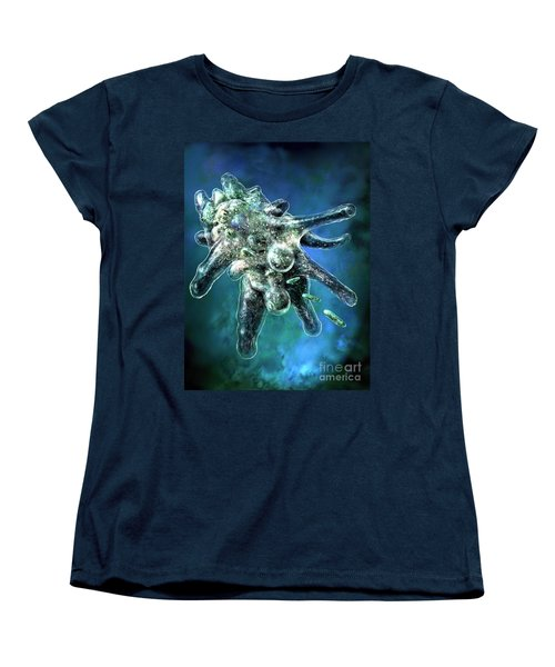 Amoeba Blue Women's T-Shirt (Standard Cut) by Russell Kightley