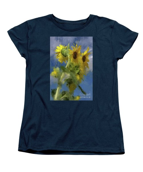 Women's T-Shirt (Standard Cut) featuring the photograph An Impression Of Sunflowers In The Sun by Lois Bryan
