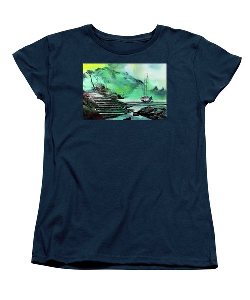 Women's T-Shirt (Standard Cut) featuring the painting Anchored by Anil Nene