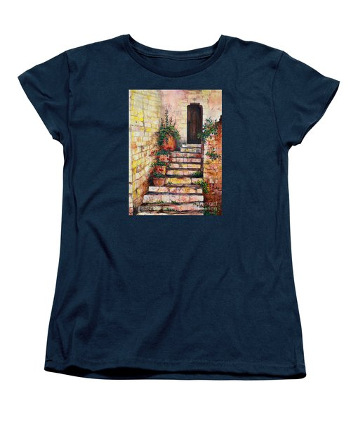 Ancient Stairway Women's T-Shirt (Standard Cut) by Lou Ann Bagnall