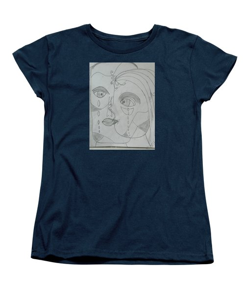 Women's T-Shirt (Standard Cut) featuring the drawing And Then They Parted by Sharyn Winters