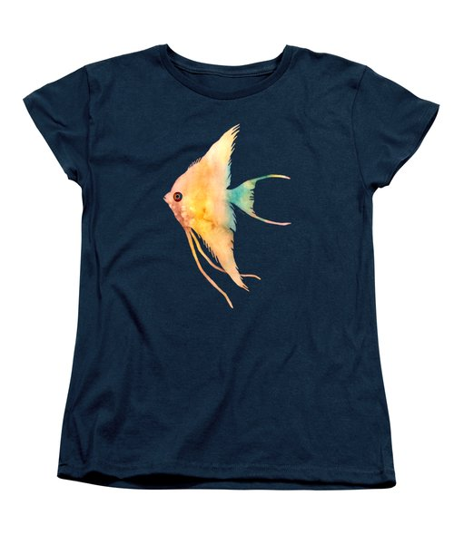 Women's T-Shirt (Standard Cut) featuring the painting Angelfish II - Solid Background by Hailey E Herrera