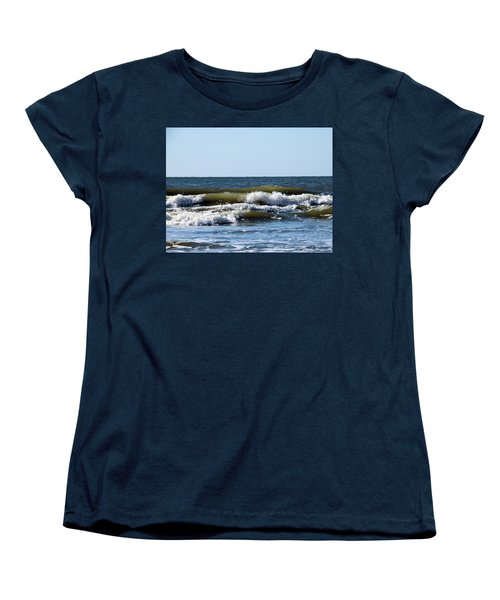 Women's T-Shirt (Standard Cut) featuring the photograph Angry Sea by Cathy Harper