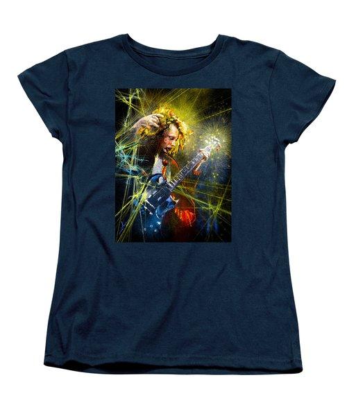 Angus Young Women's T-Shirt (Standard Cut) by Miki De Goodaboom