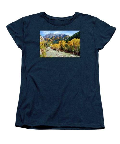 Women's T-Shirt (Standard Cut) featuring the photograph Animas River San Juan Mtns, Co, Panorama by Kurt Van Wagner