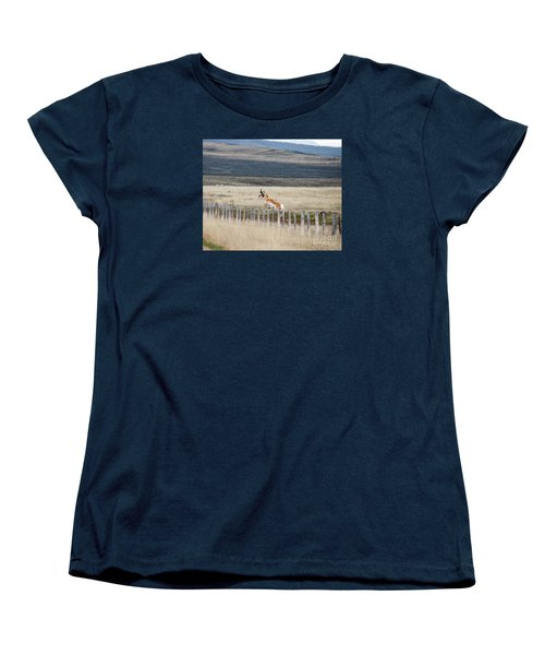 Women's T-Shirt (Standard Cut) featuring the photograph Antelope Jumping Fence 1 by Rebecca Margraf