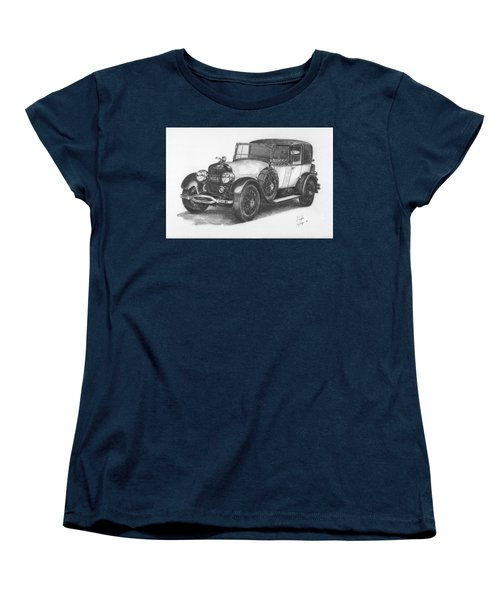 Women's T-Shirt (Standard Cut) featuring the drawing Antique Car -pencil Study by Doug Kreuger