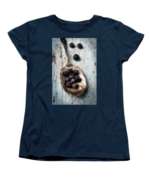 Antique Spoon And Buleberries Women's T-Shirt (Standard Cut) by Garry Gay