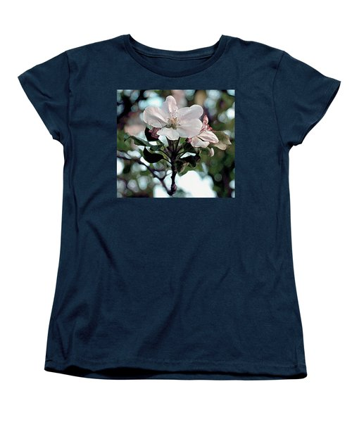 Women's T-Shirt (Standard Cut) featuring the painting Apple Blossom Time by RC DeWinter