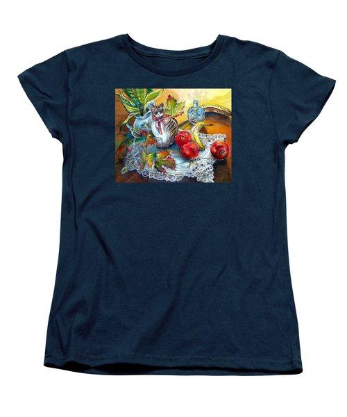 Apple Cat Women's T-Shirt (Standard Cut) by Linda Shackelford