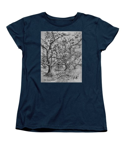 Women's T-Shirt (Standard Cut) featuring the drawing Apple Orchard by Jim Hubbard