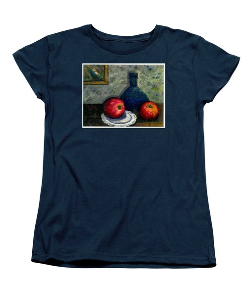 Women's T-Shirt (Standard Cut) featuring the painting Apples And Bottles by Gail Kirtz