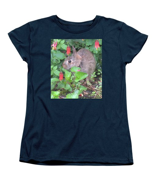 Women's T-Shirt (Standard Cut) featuring the photograph April Rabbit And Columbine by Peg Toliver