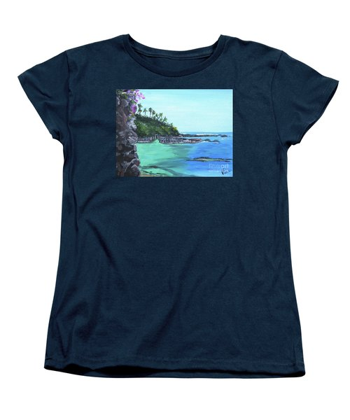 Women's T-Shirt (Standard Cut) featuring the painting Aqua Passage by Judy Via-Wolff