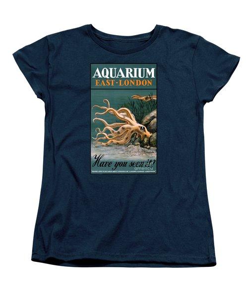 Aquarium Octopus Vintage Poster Restored Women's T-Shirt (Standard Cut) by Carsten Reisinger