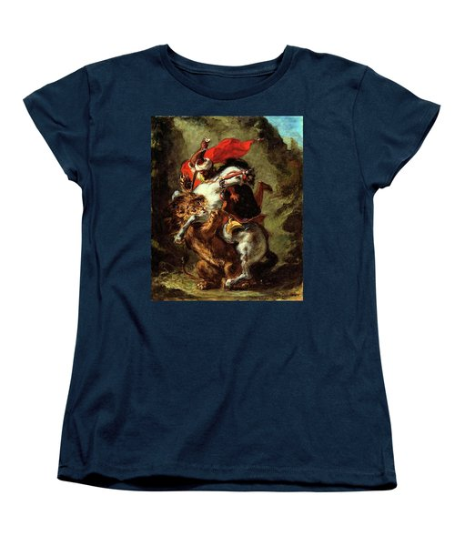 Women's T-Shirt (Standard Cut) featuring the painting Arab Horseman Attacked By A Lion by Eugene Delacroix