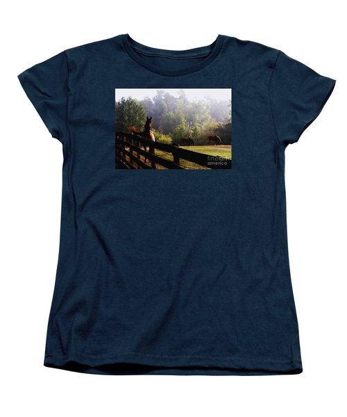 Arabian Horses In Field Women's T-Shirt (Standard Cut) by Debra Crank