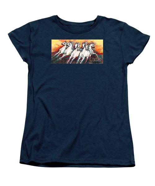 Arabian Sunset Horses Women's T-Shirt (Standard Cut) by Stacey Mayer