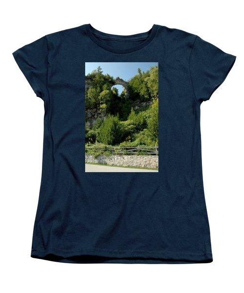 Women's T-Shirt (Standard Cut) featuring the photograph Arch Rock Mackinac Island by LeeAnn McLaneGoetz McLaneGoetzStudioLLCcom