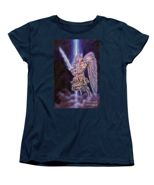 Women's T-Shirt (Standard Cut) featuring the painting Archangel Michael - Starstuff by Dave Luebbert