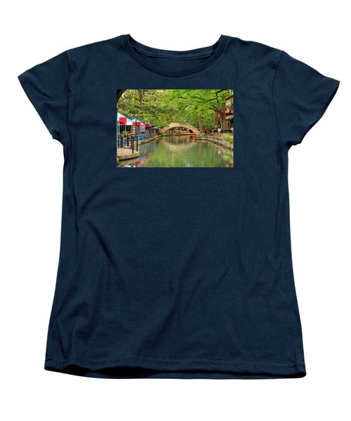 Women's T-Shirt (Standard Cut) featuring the photograph Arched Bridge Reflection - San Antonio by Art Block Collections