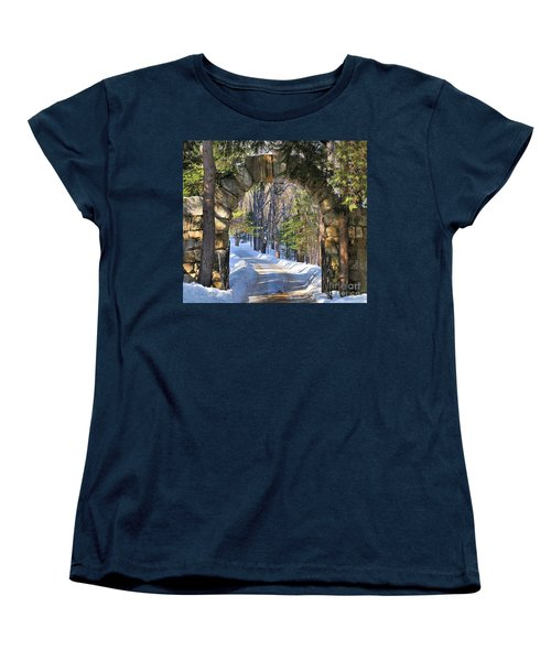 Women's T-Shirt (Standard Cut) featuring the photograph Archway To Winter by Debbie Stahre