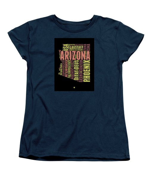 Arizona Word Cloud Map 1 Women's T-Shirt (Standard Cut) by Naxart Studio
