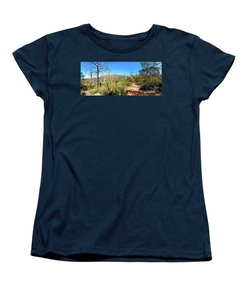 Women's T-Shirt (Standard Cut) featuring the photograph Arkaroo Rock Hiking Trail.wilpena Pound by Bill Robinson