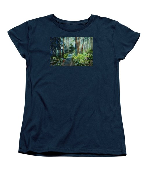 Women's T-Shirt (Standard Cut) featuring the painting Around The Path by Kerri Ligatich