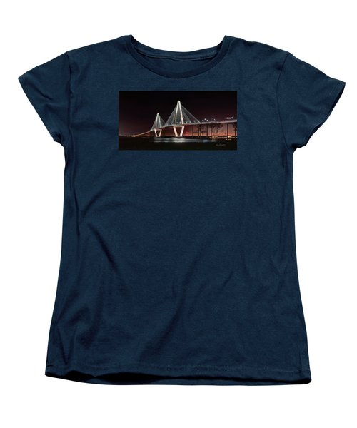 Women's T-Shirt (Standard Cut) featuring the photograph Arthur Ravenel Jr. Bridge At Midnight by George Randy Bass