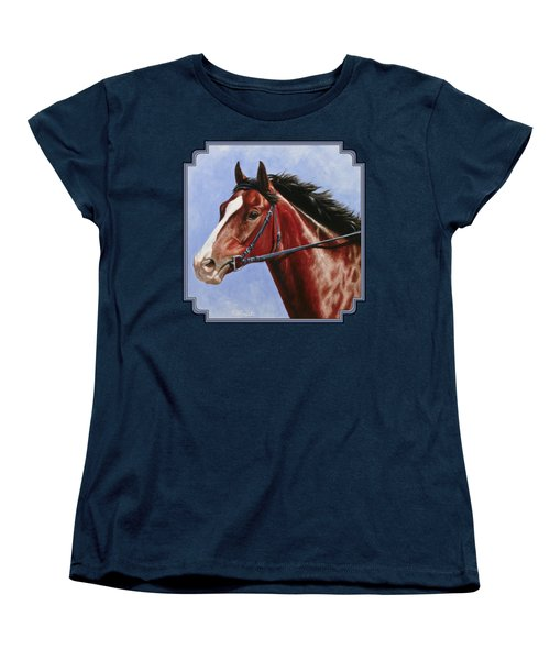 Horse Painting - Determination Women's T-Shirt (Standard Cut) by Crista Forest