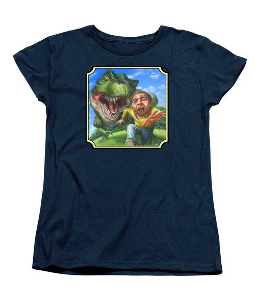 Tyrannosaurus Rex Jurassic Park Dinosaur - T Rex - T Rex - Extinct Predator - Square Format Women's T-Shirt (Standard Cut) by Walt Curlee