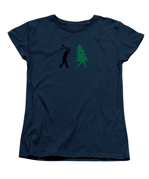 Funny Cartoon Christmas Tree Is Chased By Lumberjack Run Forrest Run Women's T-Shirt (Standard Cut)