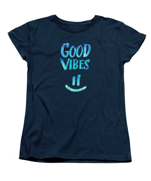 Good Vibes  Funny Smiley Statement Happy Face Blue Stars Edit Women's T-Shirt (Standard Fit)