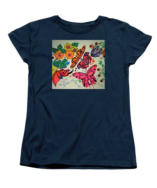 Women's T-Shirt (Standard Cut) featuring the painting Eyes Of The Butterflies by Alison Caltrider
