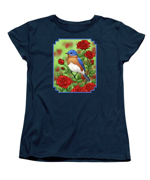 New York State Bluebird And Rose Women's T-Shirt (Standard Cut) by Crista Forest