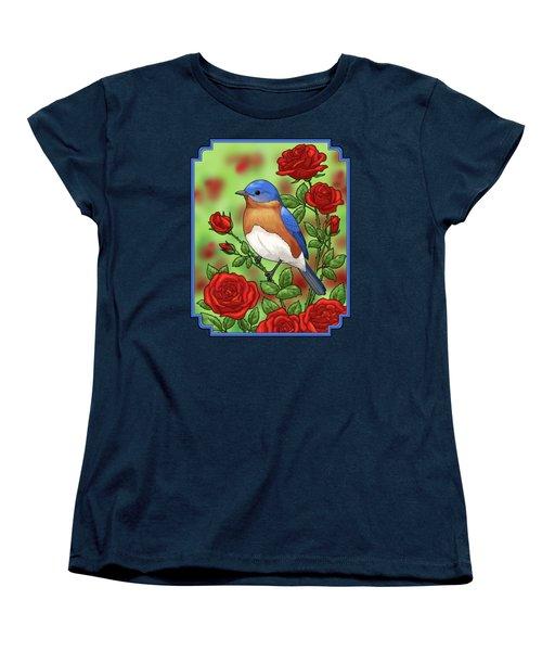 New York State Bluebird And Rose Women's T-Shirt (Standard Cut)