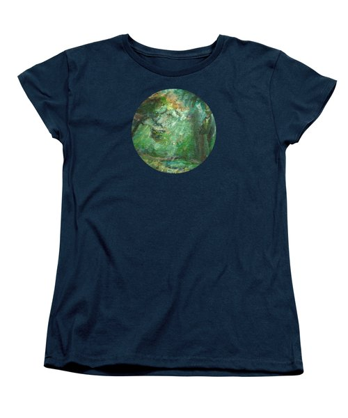 Women's T-Shirt (Standard Cut) featuring the painting Rainy Woods by Mary Wolf