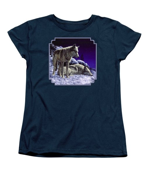 Wolf Painting - Night Watch Women's T-Shirt (Standard Cut)