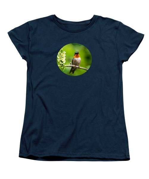 Male Ruby-throated Hummingbird With Showy Gorget Women's T-Shirt (Standard Cut) by Christina Rollo