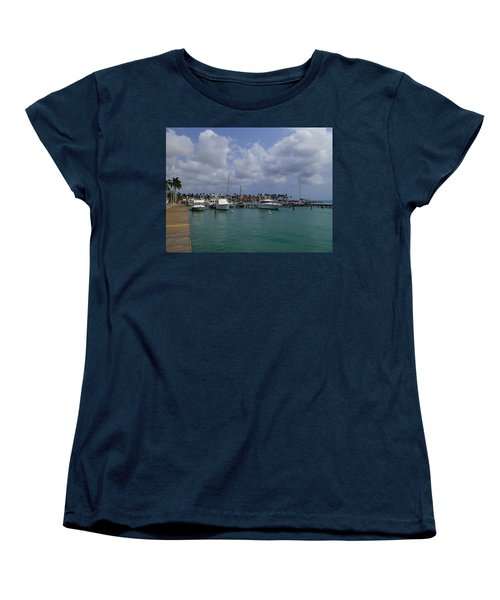 Women's T-Shirt (Standard Cut) featuring the photograph Aruba Marina by Lois Lepisto