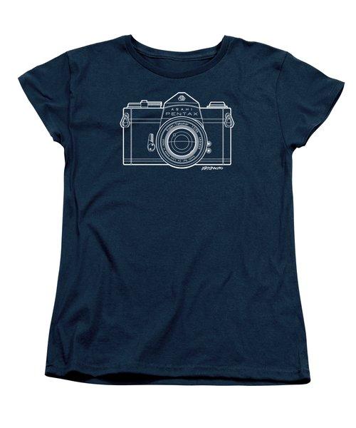 Asahi Pentax 35mm Analog Slr Camera Line Art Graphic White Outline Women's T-Shirt (Standard Fit)