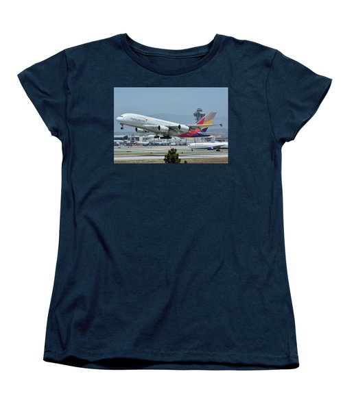 Women's T-Shirt (Standard Cut) featuring the photograph Asiana Airbus A380-800 Hl7626 Los Angeles International Airport May 3 2016 by Brian Lockett