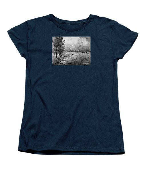 Women's T-Shirt (Standard Cut) featuring the painting Aska Farm Horses In Bw by Gretchen Allen